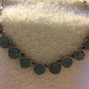 New Lia Sophia Green/Lavender Round Stone Necklace